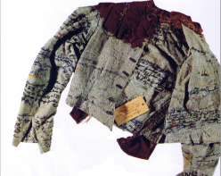 A straitjacket embroidered by asylum patient Agnes Richter in the nineteenth century.