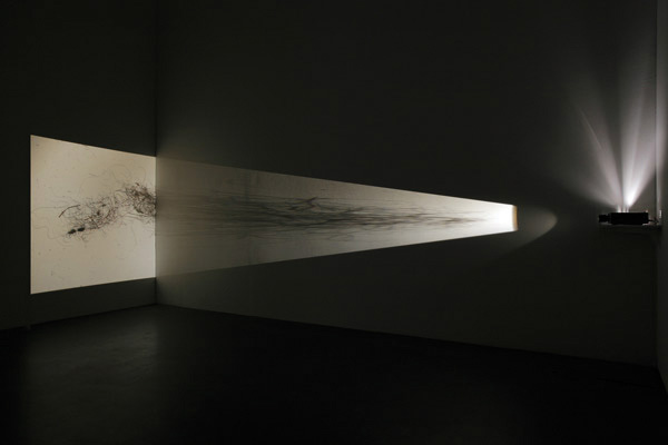 "Cornelia Parker, ""Exhaled Blanket"", 1996. Slide projection of dust and fibers taken from Sigmund Freud's couch."