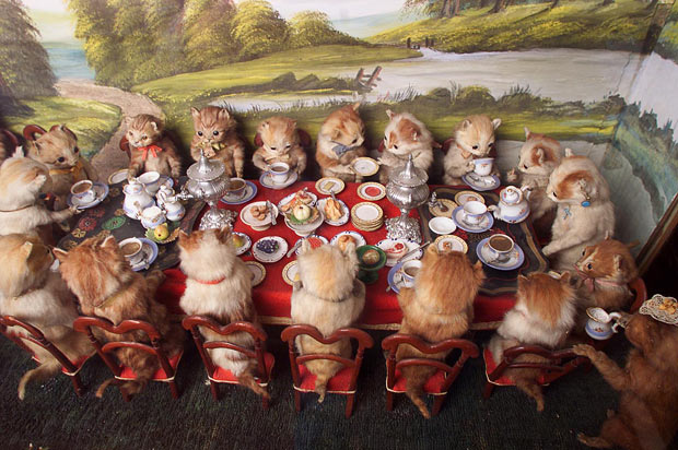 Taxidermy kittens having tea, by Walter Potter