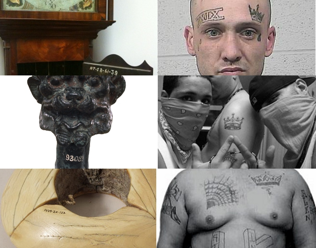 Left column: Museum objects with permanent accession numbers. Right column: Latin Kings gang tattoos.