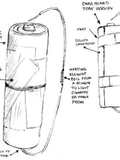 Drawing of a battery cigarette lighter, by prisoner Angelo in collaboration with Temporary Services.