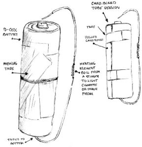 Drawing of a battery cigarette lighter invented by prisoner Angelo.