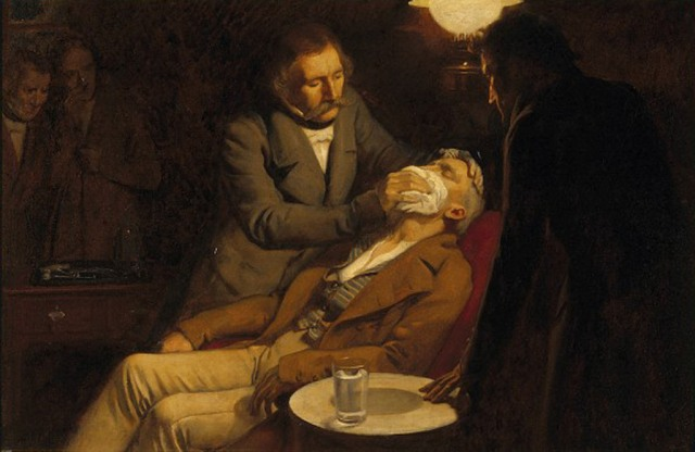 The first use of ether in dental surgery, 1846. Oil painting