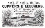 Mr and Mrs Bese Cuppers and Leechers vintage ad for medical leeches
