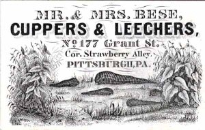 Mr and Mrs Bese Cuppers and Leechers, vintage ad for medical leeches