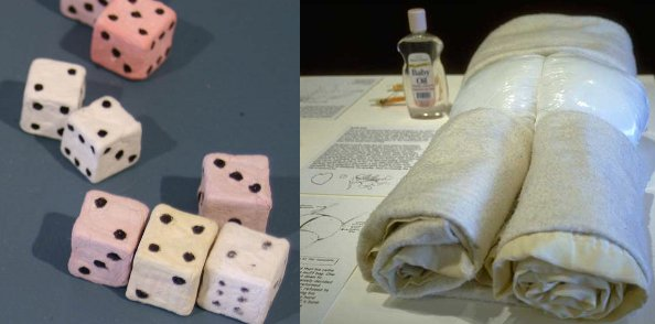 "Papier mache dice and ""muff bag"" (homemade sex doll) invented by prisoners."