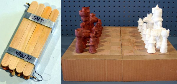 Salt and Pepper Shaker and Chessboard, made by Temporary Services from the designs of prisoner Angelo.