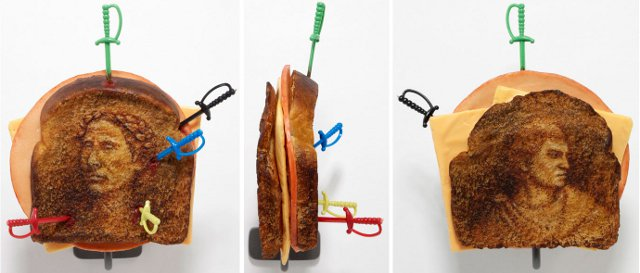 Tibi Tibi Neuspiel, Assassination Sandwiches: Caesar/Brutus, 2009. Oil paint, wax, pigment, plastic.