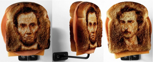 TIbi Tibi Neuspiel, Assassination Sandwiches: Lincoln/Booth, 2009. Oil paint, wax, pigment.