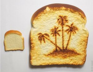 Tibi TIbi Neuspiel, Desert Island Toast (compared to regular piece of toast), 2010. Oil paint and urethane.