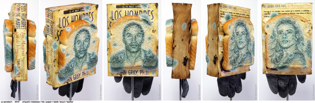 Tibi Tibi Neuspiel, OJ Sandwich, 2010. Oil paint, beeswax, paint, paper, steel, wood, leather.