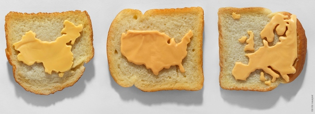 Tibi Tibi Neuspiel, Processed Cheese Maps on Toast (China USA Europe), 2010. Oil paint, pigmented beeswax.