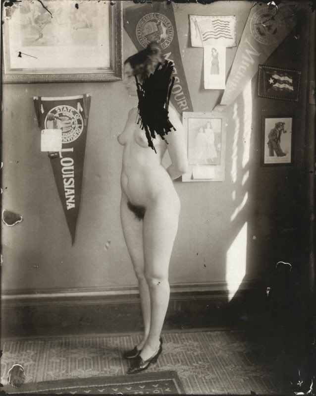 E.J. Bellocq's photograph of Storyville prostitute with scratched out face.