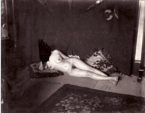 E.J. Bellocq's photograph of Storyville prostitute with scratched out face