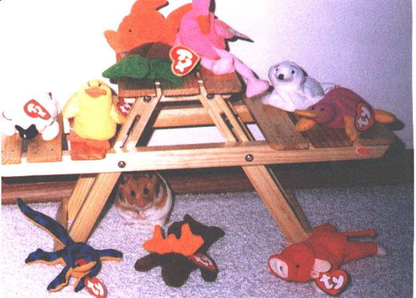 Internet Archaeology: 1990s graphic of beanie babies on picnic table.
