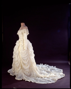 Wedding dress made from a parachute that saved the grrom during World War Two.