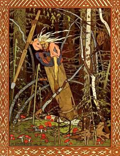 Illustration of Baba Yaga, by Ivan Bilibin. Russuan fairytales.