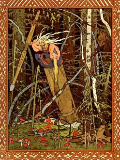 Illustration of Baba Yaga, by Ivan Bilibin. Russuan fairytales.