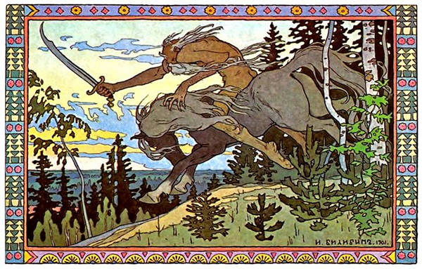 Illustration of Koschey the deathless by Ivan Bilibin.