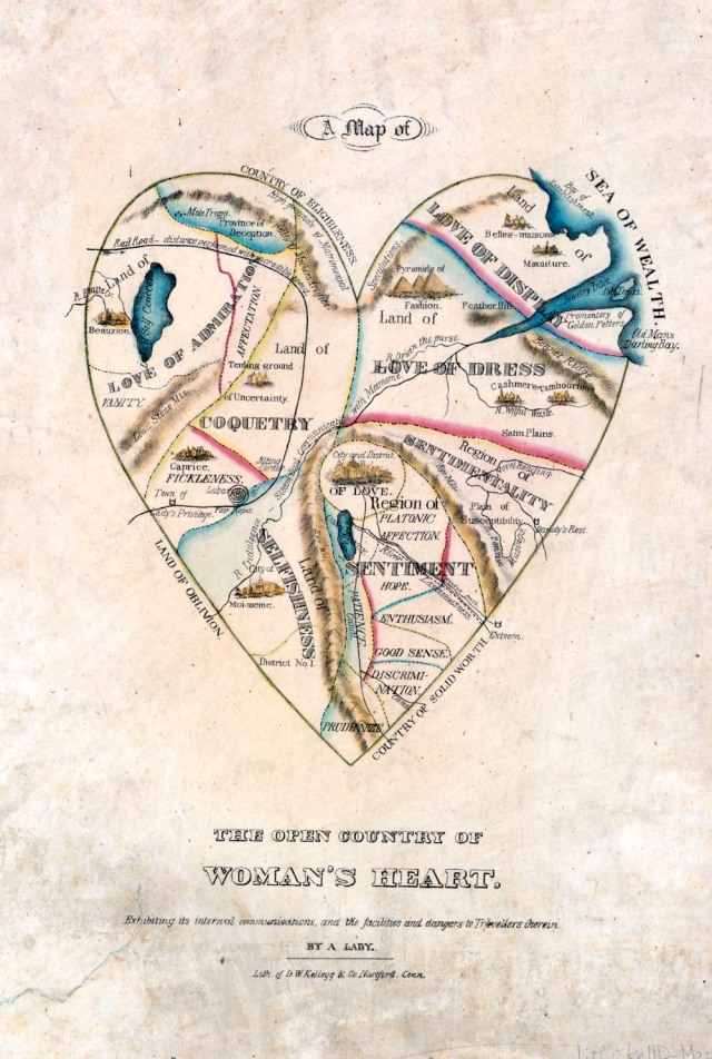 19th century Victorian illustration of a map of a woman's heart.