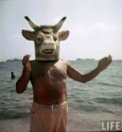 Picasso Wearing a Cow Head (Bull) Mask