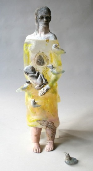 Christina Bothwell's translucent glass sculpture of girl with baby and birds