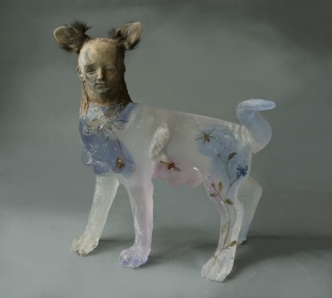 Christina Bothwell's translucent glass sculpture of cat girl with furry ears