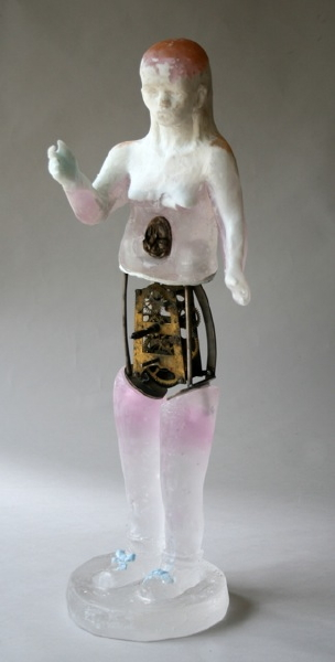 Christina Bothwell's translucent glass sculpture of girl with mechanical stomach