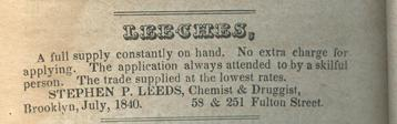 Ad for leeches in the Brooklyn City Directory, 1840-1841