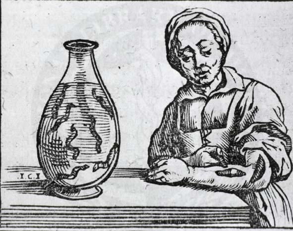 Bloodletting with leeches. From a text by Guillaume van den Bossche appearing on page 431 ofHistoria medica, in qua libris IV. animalium natura, et eorum medica utilitas esacte and uculenter (Brussels: Joannis Mommarti, 1639).