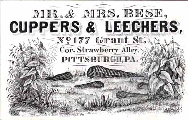 Business card for Mr and Mrs Bese cuppers and leechers in Pittsburgh, Pennsylvania. 19th century.