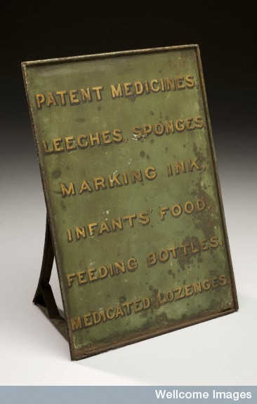 Metal pharmacy sign advertising a range of wares, including leeches, England, 19th century.