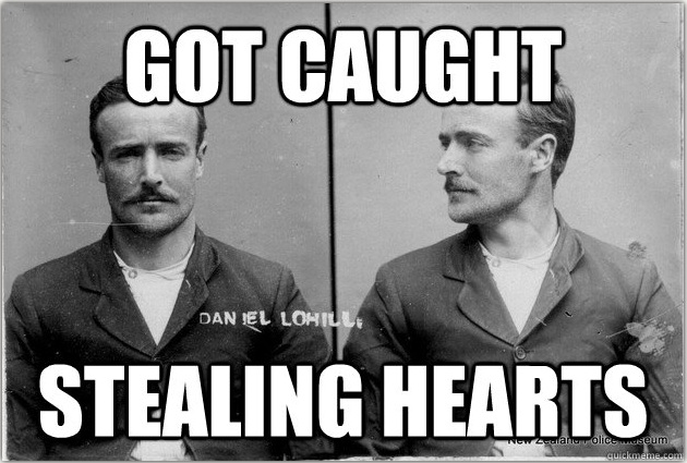 Meme of Daniel Lohill's mug shot, with the words 'Got Caught Stealing Hearts'