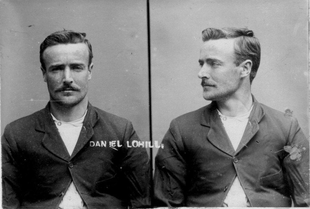 Mug shot of Daniel Tohill (aka Daniel Lohill), thief from New Zealand.