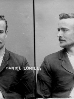 Mug shot of Daniel Tohill (aka Daniel Lohill), thief from New Zealand.