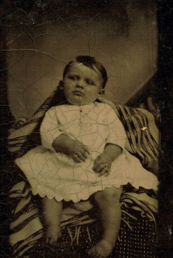 A Victorian post-mortem photograph of a baby