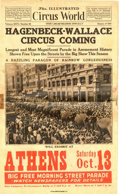 Front page of Illustrated World Circus showing parade of elephants.