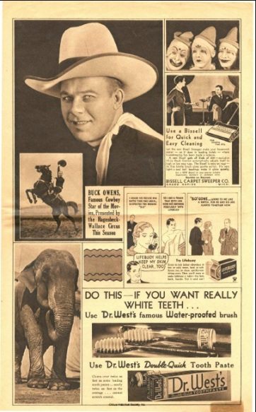 Cowboy riding a horse, elephant, clowns and toothpaste advertisement.