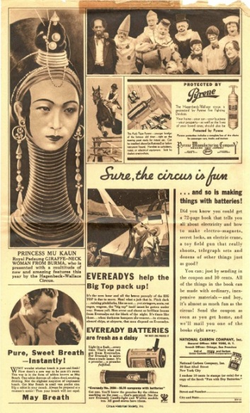 Picture of clowns, Princess Mu Kaun and her 'giraffe neck', and ad for batteries.
