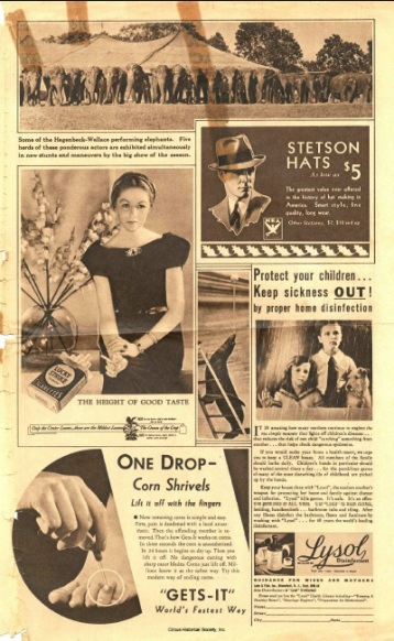Vintage ads for stetson hats, corn shrivels, Lysol, Lucky Strike cigarettes, and a picture of elephants.