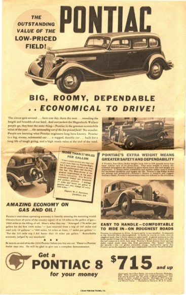 Advertisement for Pontiac car.