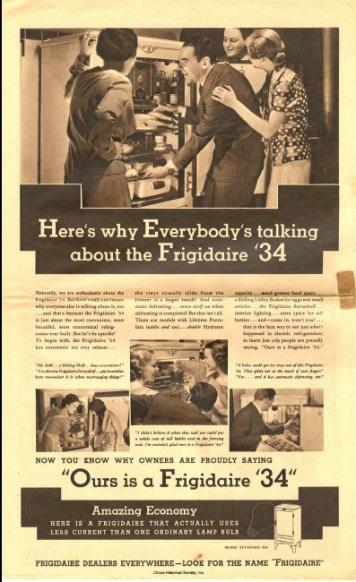 Frigidaire refrigerator ad, 1934.