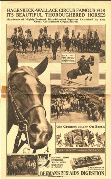 Trained horses and ad for digestive aids.