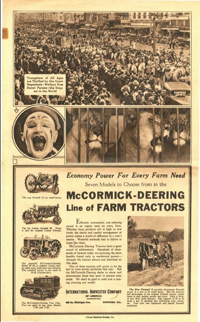 Photo of clown and crowds, plus ad for tractors.
