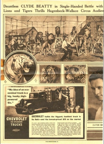 Photographs of lion and lion tamer, along with Chevrolet ad.
