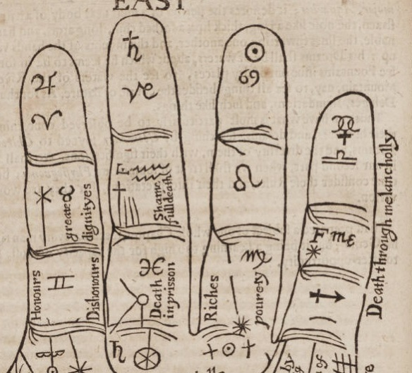 Detail of fingers showing astrological significance of lines and areas like 'death through melancholy'.