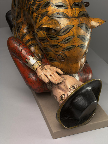 Life size 18th century automaton of tiger eating European man from the Victoria and Albert Museum (detail of face)