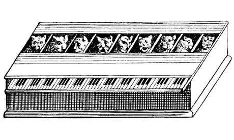 Illustration of a Katzenklavier from Gaspar Schott's Magia Naturalis (1657)