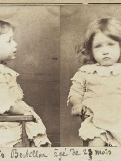 1893 mug shot of two year old Francois Bertillon