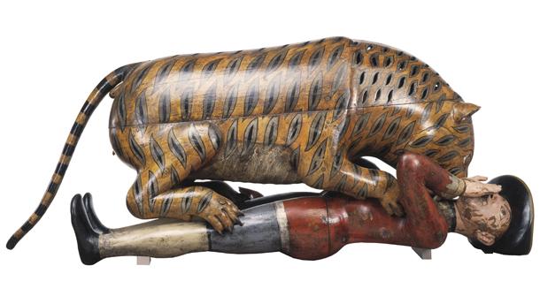 Tiger automaton mauling a man in European dress